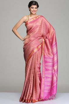 Onion Pink Tussar Silk Saree With Horizontal Zigzag Stripes With Gold Zari Detailing,
