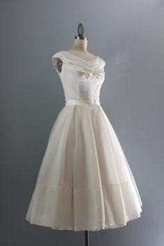 Vintage 1950's Tea Length Lace Wedding Dress ~ Vintage 50s ...
