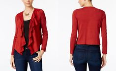 INC International Concepts Petite Faux-Suede Cascade Cardigan, Only at Macy's…