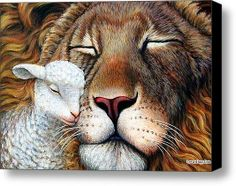 Prophetic Art painting of Lion with his eyes close and lamb snuggled up to his face. Please also visit www.JustForYouPropheticArt,com for colorful inspirational Prophetic Art paintings and prints. Psalm 133, Isaiah 11, Lion And Lamb, Prophetic Art, Jesus Pictures, Jesus Is Lord, King Of Kings, Bible Art, Bible Book
