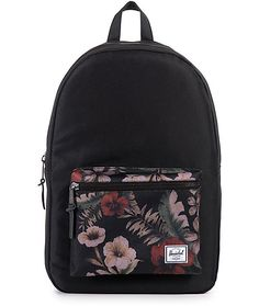 Easily go from the woods to the classroom to the airport with the do it all design of the Herschel Supply Settlement Hawaiian Camo backpack. This mid-size pack features a two tone black and Hawaiian Camo floral print front pouch pocket in a convenient 23