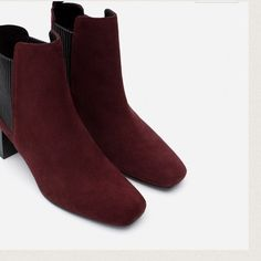 ZARA SUEDE ANKLE BOOTS BRAND NEW ZARA SUEDE ANKLE BOOTS BRAND NEW COLOR BURGUNDY HEEL HEIGHT 6cm. PULL ON WITH ELASTIC SIDE PANELS Zara Shoes