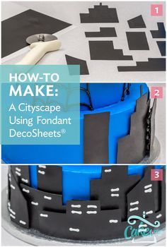 How to make a fondant cityscape on a cake #cakedecorating tutorial by Cakes.com