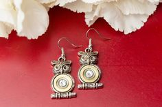 Bullet Jewelry  Owl Bullet Dangle Earrings 410 by RicochetRounds