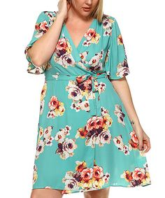 Another great find on #zulily! Mint Floral Wrap Dress - Plus #zulilyfinds