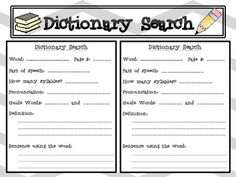 FREE Dictionary Search- (Use in writing station, morning work, grammar lessons, etc.)