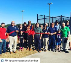 Commissioner Allen Poole cuts the ribbon for new baseball fields at the Haralson County Recreational Center. #openingday #ghcribboncutting @greaterharalsonchamber