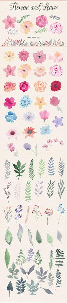 Watercolor Design Kit. Pink & Orange by Switzergirl on Creative Market: