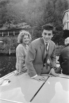 Romy Schneider & Alain Delon celebrating their engagement in Lugano, 1959