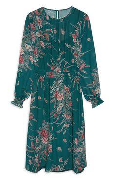 1d2239afb1 Primark - Floral Teal Chiffon Midi Dress Modest Fashion, Cold Shoulder  Dress, Chiffon,
