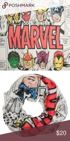 Classic Avengers Marvel Comics Infinity Scarf This is for 1 Marvel themed Infinity Viscose Scarf.  Theme:  Marvel - Officially Licensed Pattern: Classic Avengers Characters - includes Captain America, Thor, Hulk, Spider-Man and more! Brand: Bioworld Material: 100% Polyester  Makes a great gift!  CONDITION - New  Check out my Posh for more Scarves and more Marvel! Bioworld Accessories Scarves & Wraps