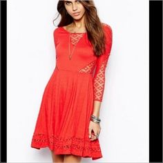 """Free People """"Strawberry"""" Dress 🍓 NWT Perfect condition, NWT, beautiful color, beautiful material, I love all of the cut out design. Just all around beautiful and perfect! Let me know if I can answer any questions for you Free People Dresses"""