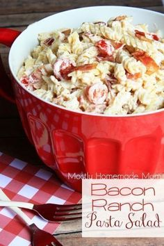 Bacon Ranch Pasta Salad - Rotini pasta tossed in a ranch sauce along with chicken, cherry tomatoes, and bacon - the perfect side dish to your next picnic or BBQ!