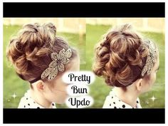 Vintage Hairstyles For Prom Bun Hairstyles Updo Tutorial for Prom / Wedding Kids Updo Hairstyles, Princess Hairstyles, Flower Girl Hairstyles, Little Girl Hairstyles, Pretty Hairstyles, Wedding Hairstyles, Vintage Hairstyles, Hairdos, Flower Girl Updo
