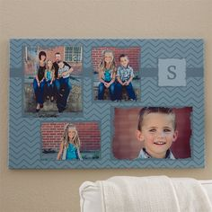Love the blue chevron pattern on this canvas - you can personalize it with your own family photos at PMall!