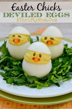 Easter Chick Deviled Eggs Recipe - {uses for leftover #Easter Eggs}