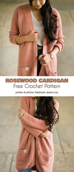 Rosewood Cardigan Free Crochet Pattern The Rosewood cardigan is a long, casual s. Rosewood Cardigan Free Crochet Pattern The Rosewood cardigan is a long, casual sweater you can wear every day, with any . Pull Crochet, Mode Crochet, Cardigan Au Crochet, Crochet Shawl, Fall Cardigan, Knit Crochet, Knit Cardigan Pattern, Crochet Sweaters, Crotchet