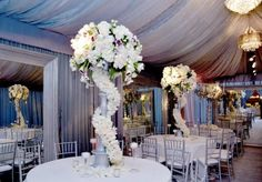 Gorgeous Flowers  - Private Event   - A very Glamorous Affair in Platinum and Gold!