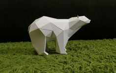 Animal Paper Model - Simple Low Poly Polar Bear Free Template Download - http://www.papercraftsquare.com/animal-paper-model-simple-low-poly-polar-bear-free-template-download.html#AnimalPaperModel, #LowPoly, #PolarBear