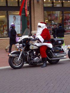 Santa on a motorcycle.