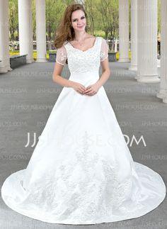 Wedding Dresses - $186.99 - A-Line/Princess V-neck Chapel Train Satin Tulle Wedding Dress With Lace Beadwork (002012103) http://jjshouse.com/A-Line-Princess-V-Neck-Chapel-Train-Satin-Tulle-Wedding-Dress-With-Lace-Beadwork-002012103-g12103