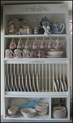 DIY plate rack cabinet. Minus the fancy details.