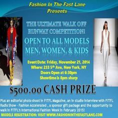 Ultimate Runway Walk Off Competition at Museum Of Sex, 233 5th Avenue, New York, 10016, US. On Nov 21,2014 to Nov 21,2014 at 8:00pm to 11:00pm.  The Museum Of Sex in NYC is the setting for Fashion In The Fast Lane's Ultimate Runway Walk-Off Competition where male and female models ages 12 and up.  URLs: Tickets: http://atnd.it/16921-0, Facebook: http://atnd.it/16921-2,  Category: Nightlife,  Prices: Early Bird Special-Ends November 9,2014 $25, General Admission $30, At the door $35