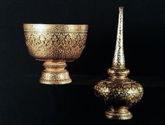 Gold niello aspergill and bowl on stemmed tray.  King Rama V craftsmanship.