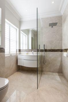 Beautiful walk in shower with Svedbergs Joy vanity unit. This white basin also looks very similar to the New Bauhaus Svelte range.