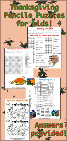 Free Thanksgiving Pencil Puzzles for kids. Use them in the classroom or for home use! Answers provided!