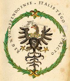 "Coat of arms of Polish Prussia with monogram of Sigismund III Vasa in the ""Aeconomiae Marienburgensis Revisio"" (Revision of Malbork Domain) by royal secretary Szymon Rudnicki and servants of the Treasury of His Highness Jan Machowicz and Jan Rakowski, 1590 (PD-art/old), Kungliga biblioteket:"