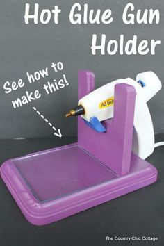 How to make a hot glue gun holder -- make this for your home or craft room! Great tutorial on how to make a hot glue gun holder. Every craft room needs one of these to keep your hot glue handy and mess free. Craft Room Storage, Craft Organization, Paper Storage, Organizing Tips, Craft Storage Solutions, Diy Projects To Try, Crafts To Make, Fun Crafts, Decor Crafts