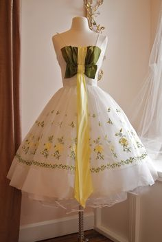 1960's green and yellow homecoming dress,