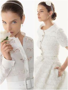 """Trajes de Novia Rosa Clara Modelos Basilea y Bahamas - El modelo """"Bahamas"""" llama poderosamente la atención por su chaqueta, bolsillos en la maxi-falda y pedrería bordada que hacen que este modelo de la colección de trajes de novia de Rosa Clará resalte por su elegancia. - Mas sobre la coleccion 2013 en http://bodasnovias.com/vestidos-de-novia-rosa-clara-2013/3934/ #brides"""