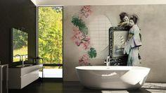 Im Badezimmer sind Feuchtraumtapeten eine tolle Dekoidee