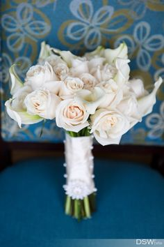 All white rose bridal bouquet.