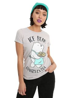 We Bare Bears Ice Bear Charges Extra Girls T-Shirt, SILVER
