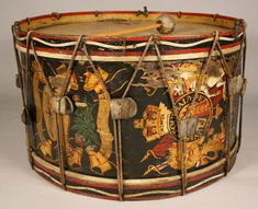 Hand painted Royal regimental bass drum with original painted wood elements. British, late 19th century