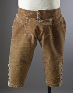 Breeches front view of a man's silk velvet suit, c.1770, part of the costume collection at Ham House, Surrey.