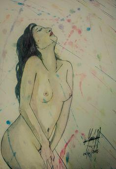 Estudo em Aquarela, lápis de cor aquarelado e canetinha sobre Canson...