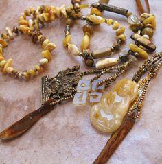 Amber, Yellow Opal, Goddess Amulet, Stone, and Pearl Spirit Beads. $323.00, via Etsy.
