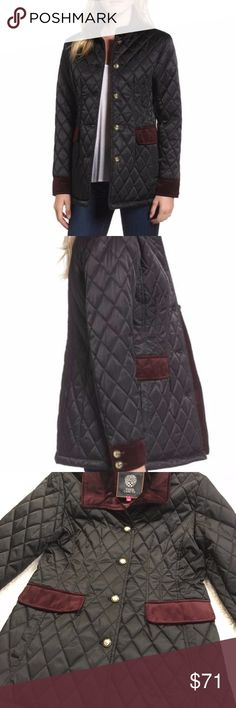 NWT - Vince Camuto Black Quilted Jacket Gorgeous BRAND NEW Vince Camuto Quilted Jacket    Size: Medium    Satiny black jacket features heritage quilting and velvet elements that polish the collar, pockets and cuffs. Comes with Extra buttons and original tags still attached. Vince Camuto Jackets & Coats