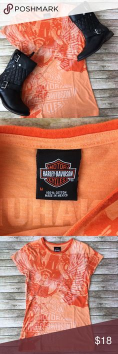 """Genuine Harley-Davidson T-Shirt Genuine Harley-Davidson T-Shirt. SZ Medium (fits more like a small-measures approx. 16"""" arm pit to arm pit). Shades of Orange. From Donahue Harley-Davidson St. Cloud, MN. Gently Used Condition. Harley-Davidson Tops Tees - Short Sleeve"""