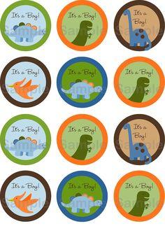 Lil Dino Dinosaur Boys Printable Cupcake By LittlePrintsParties 400 Boy Baby Showers
