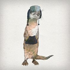 An otter, all dressed up to go out in the winter? Don't mind if I do. (Society6)