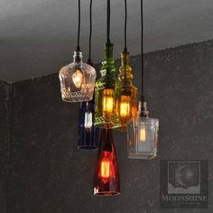 Glendora - Recycled Bottle Light Chandelier with Customizable Metal Canopy and Vintage Style Bulbs - Rustic Decor - Farmhouse Light This is a 6 pendant chandelier made from recycled bottles. The rubber cords are mounted on a 12 birch plywood canopy wit. Bottle Chandelier, Pendant Chandelier, Chandelier Lighting, Round Chandelier, Light Pendant, Chandeliers, Farmhouse Lighting, Rustic Lighting, Vintage Lighting