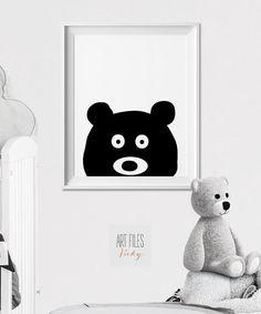 Bear Wall art Print Nursery Art Poster Minimal Black and