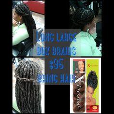 Large long box braids $95 bring hair