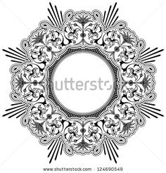 Round calligraphic floral border design element with a central circular blank area for your text, eps8 vector by Adrian Niederhaeuser, via S...