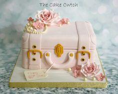 Vintage suitcase birthday cake